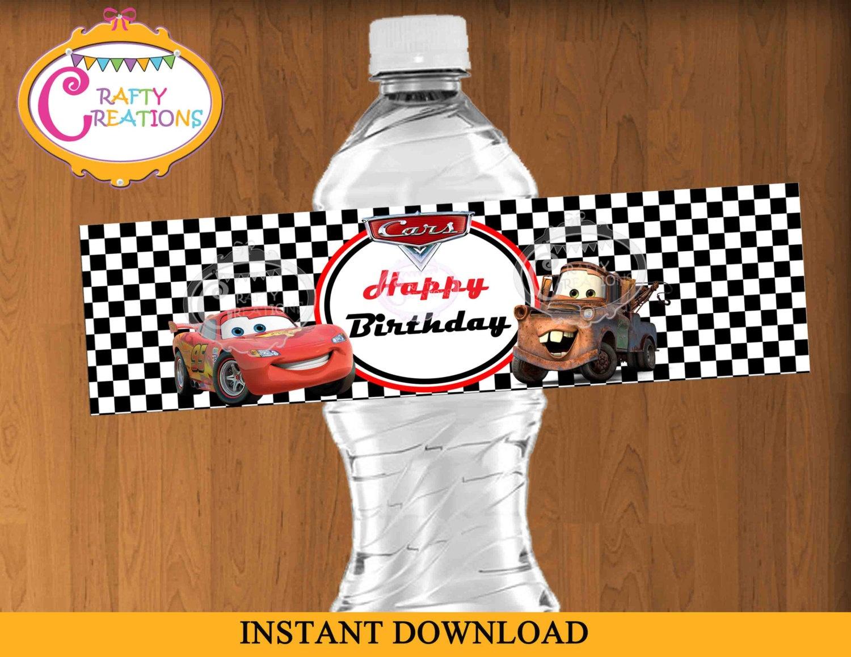 Disney Cars Water Bottle Label Mcqueen Water Bottle Labels | Etsy - Free Printable Cars Water Bottle Labels