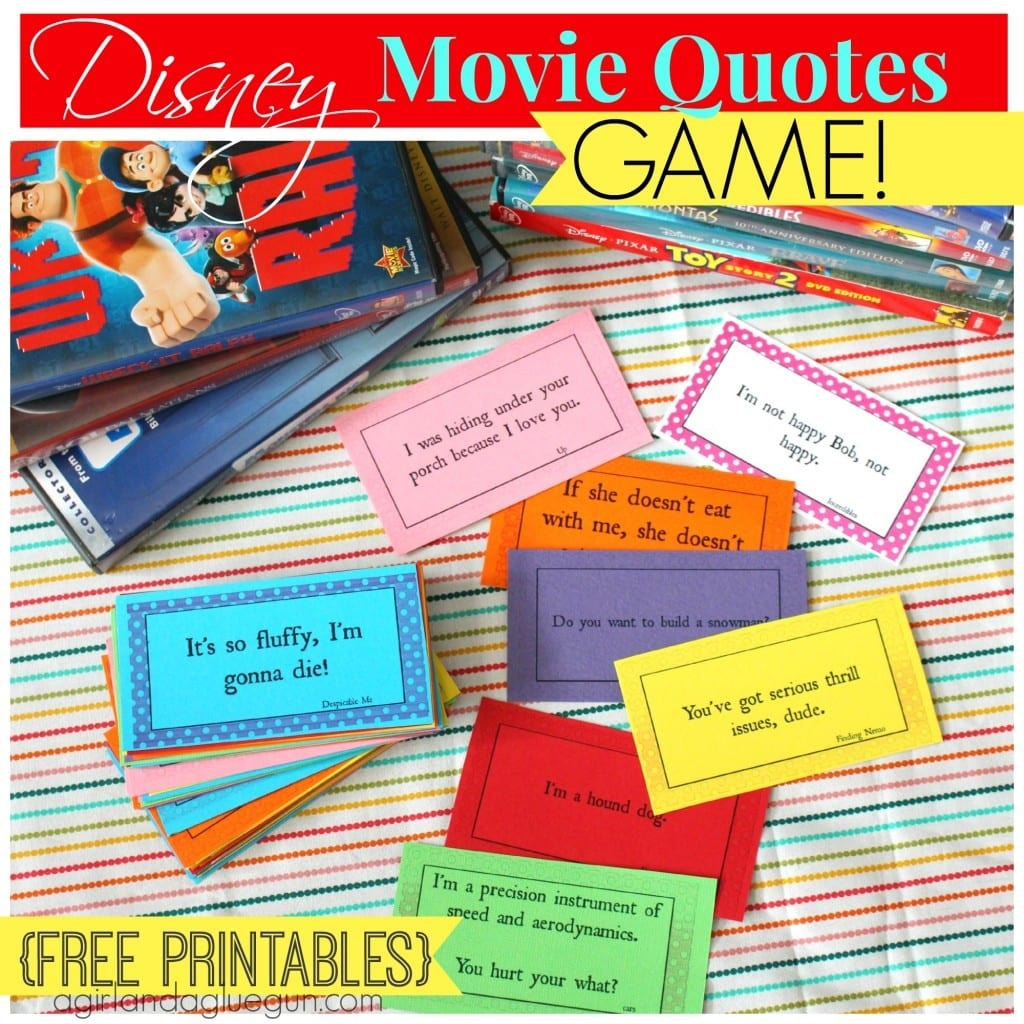 Disney Movie Quotes Game With Free Printables! - A Girl And A Glue Gun - Free Printable Recovery Games