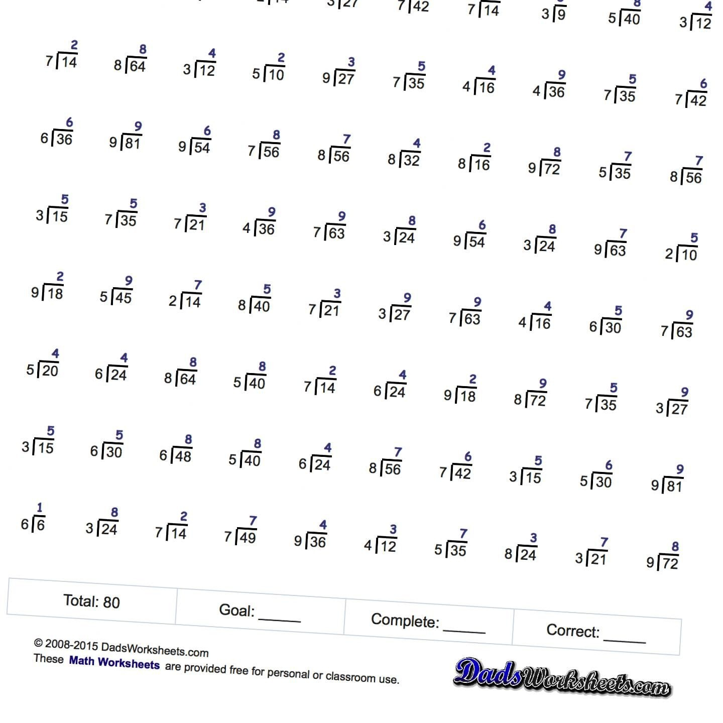 Division Worksheets! Just Whole Facts - Two Minute Tests | Education - Free Printable Division Worksheets