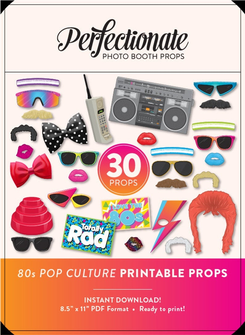 Diy 80S Photo Booth Props 30 Printable 80S Props Instant   Etsy - 80S Photo Booth Props Printable Free