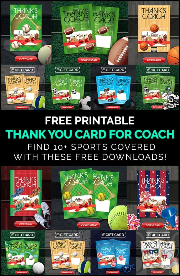 Diy Coach Gifts: Printable Thank You Card For Coach - Free Printable Soccer Thank You Cards