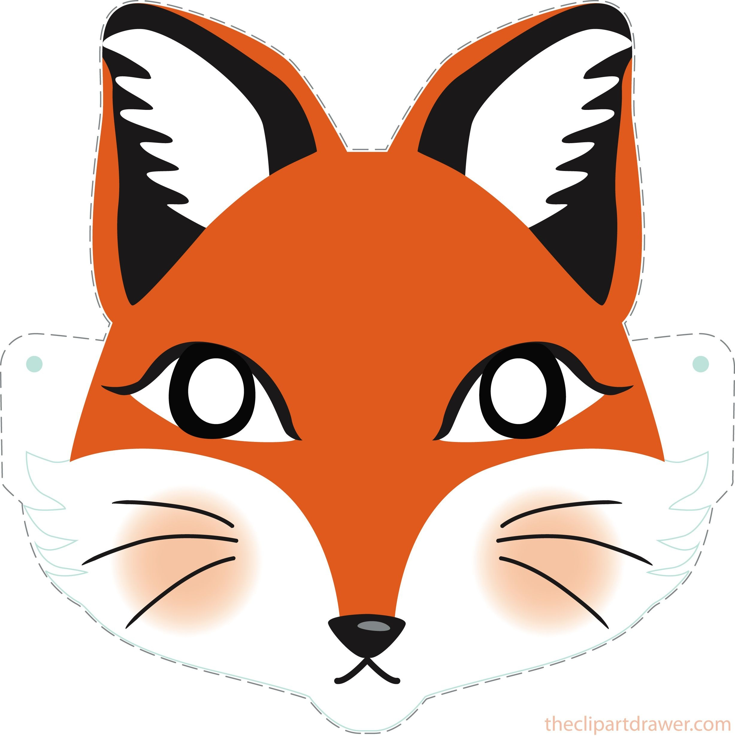 Diy Fox Printable Mask For Kids - Clipart Drawer | Diy | Printable - Free Printable Fox Mask Template