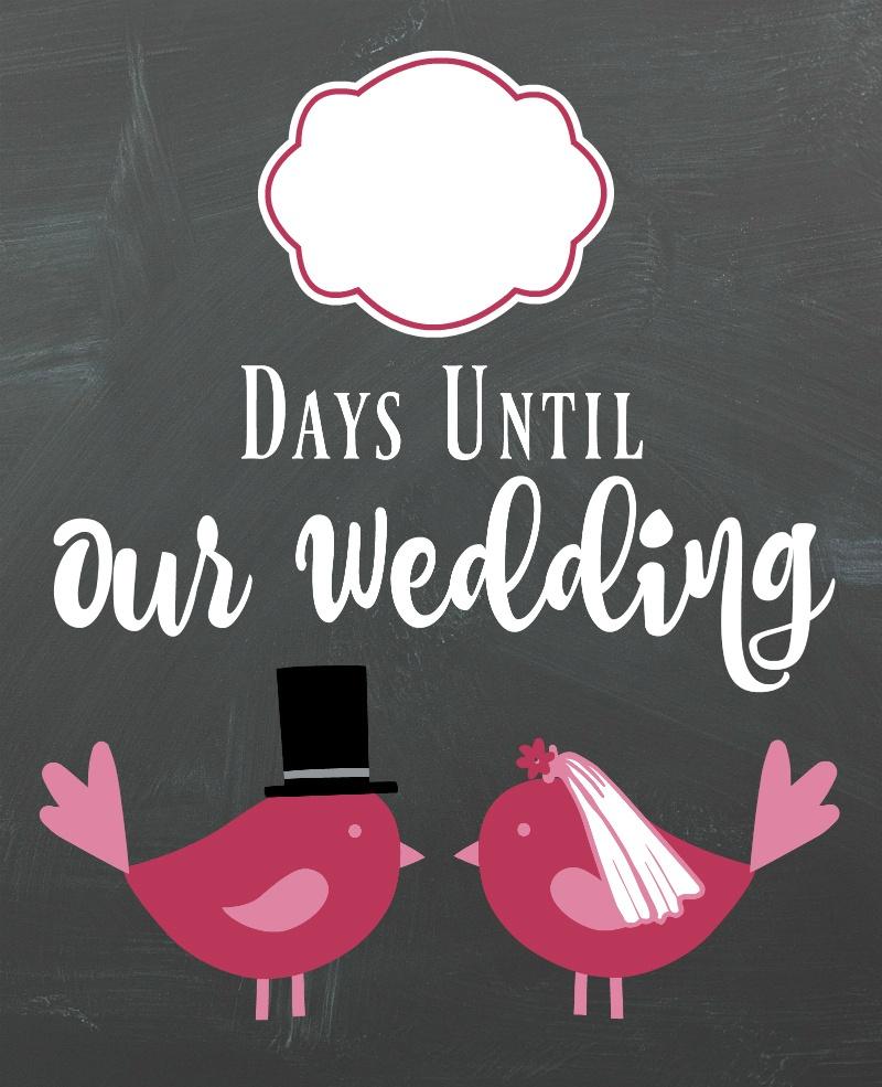 Diy Lovebirds Wedding Countdown Sign   A Bride On A Budget - Free Printable Wedding Countdown