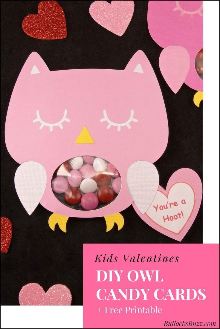 Diy Owl Valentines Candy Cards + Free Printable! | Valentine's Day - Free Printable Owl Valentine Cards