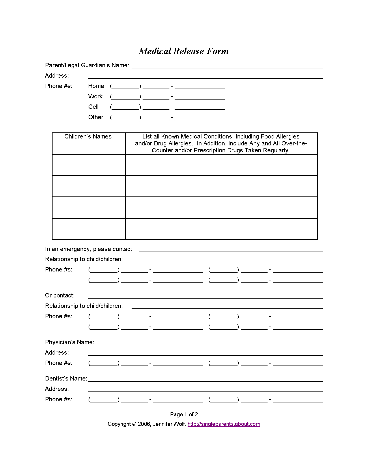 Do You Have A Medical Release Form For Your Kids?   Travel   Medical - Free Printable Caregiver Forms