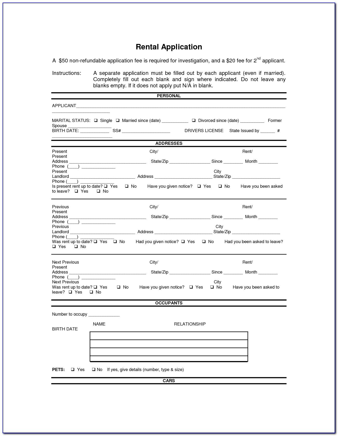 Doc.#592799: Printable Rental Agreement Forms – Free Rental Forms - Free Printable Rental Application