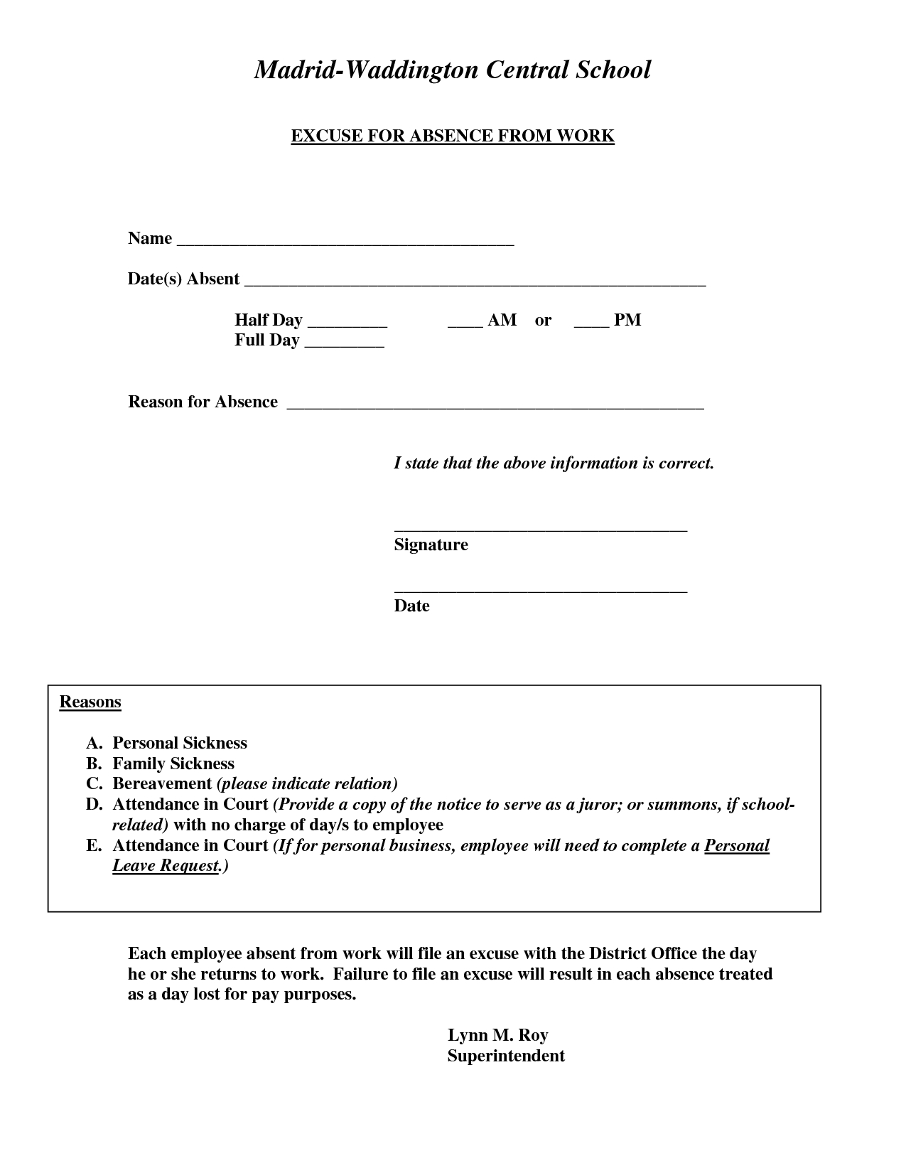 Doctors Excuse For Work Template | Excuse For Absence From Work - Doctor Notes For Free Printable