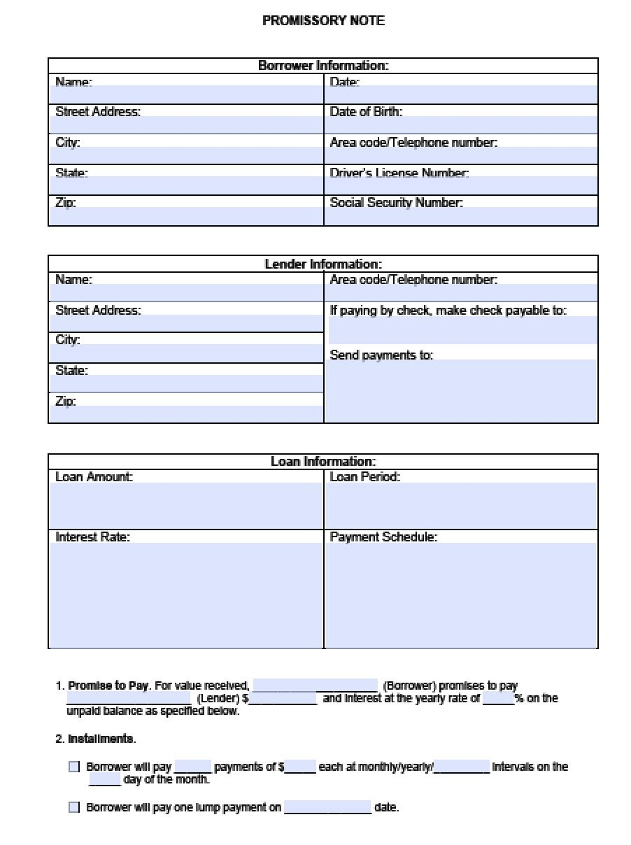 Download Blank Promissory Note Template | Pdf | Rtf | Word - Free Printable Promissory Note Template