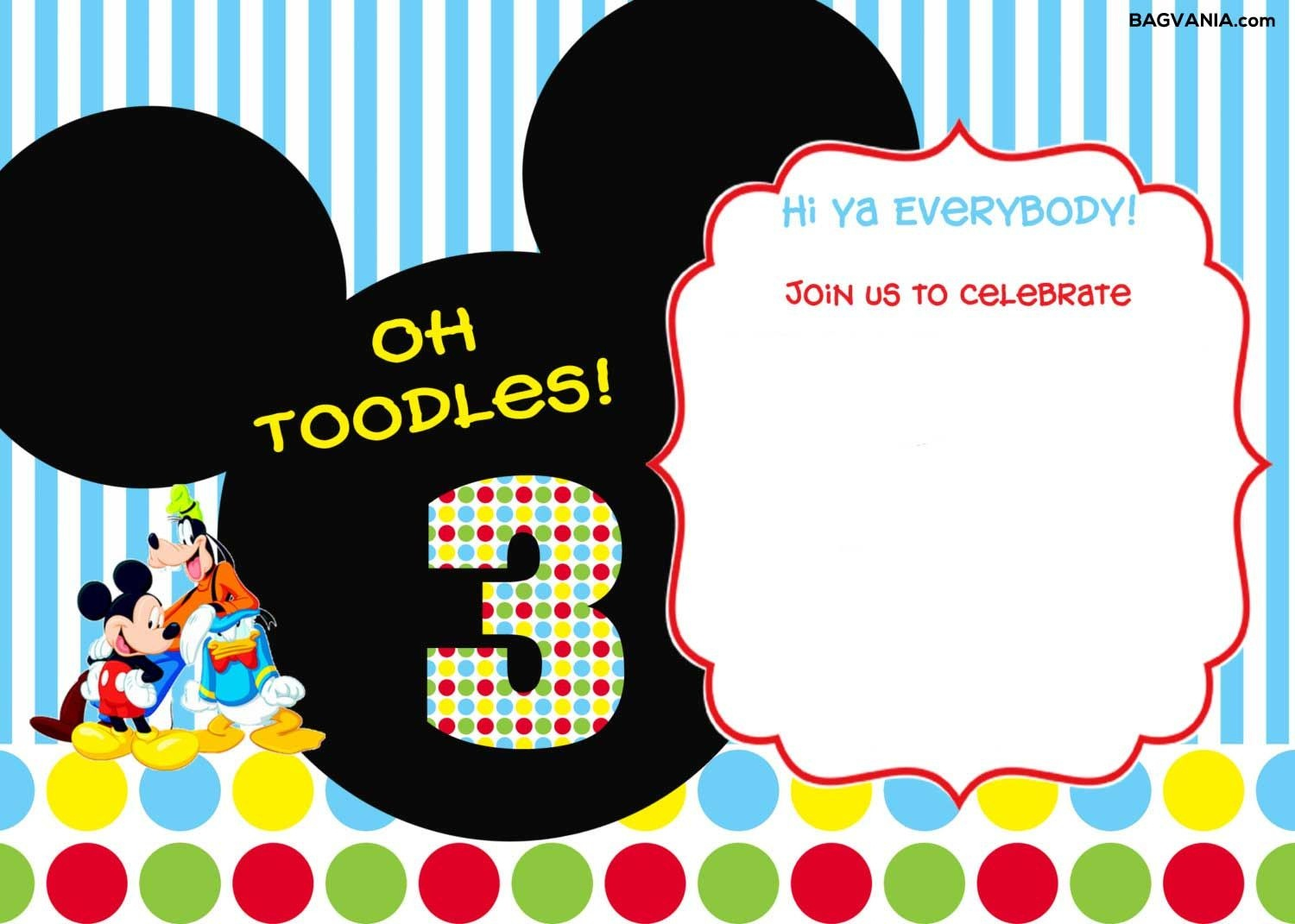 Download Free Printable Mickey Mouse Birthday Invitations | Bagvania - Free Printable Mickey Mouse Birthday Invitations