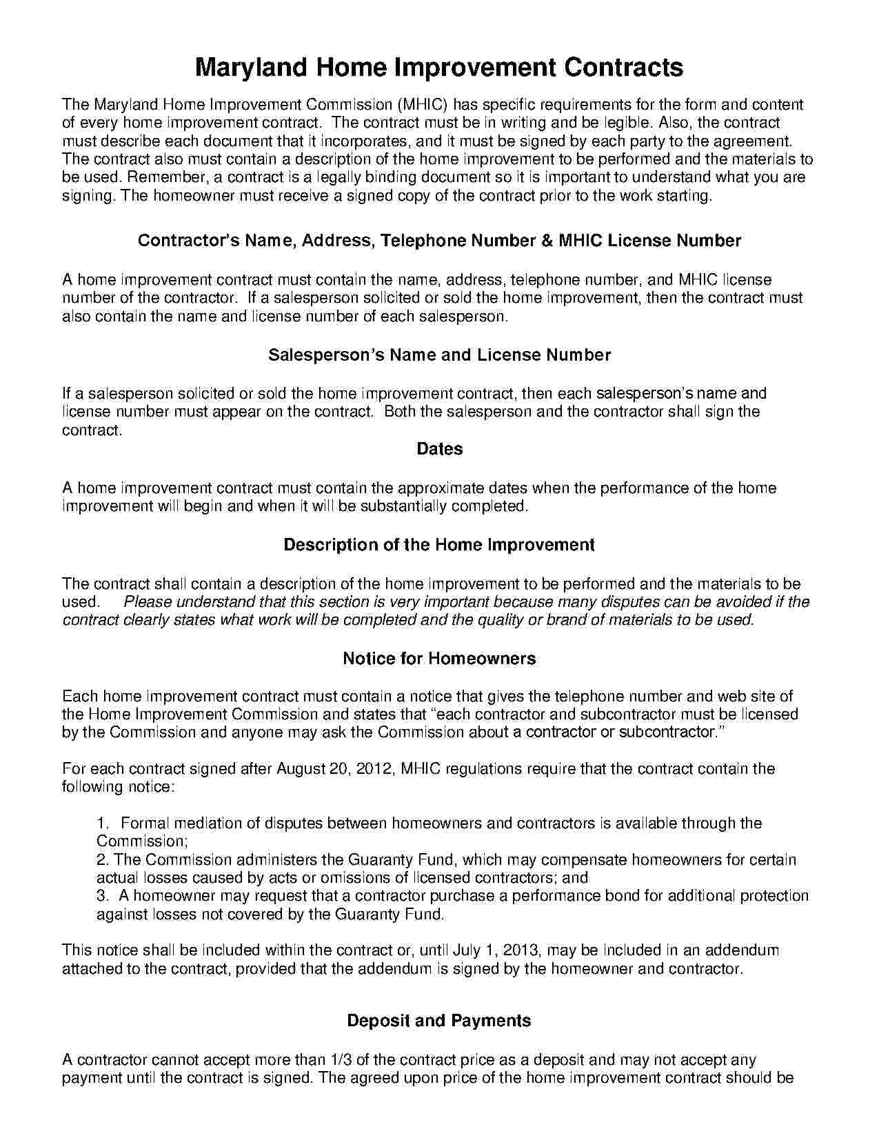 Download Home Improvement Contract Style 18 Template For Free At - Free Printable Home Improvement Contracts