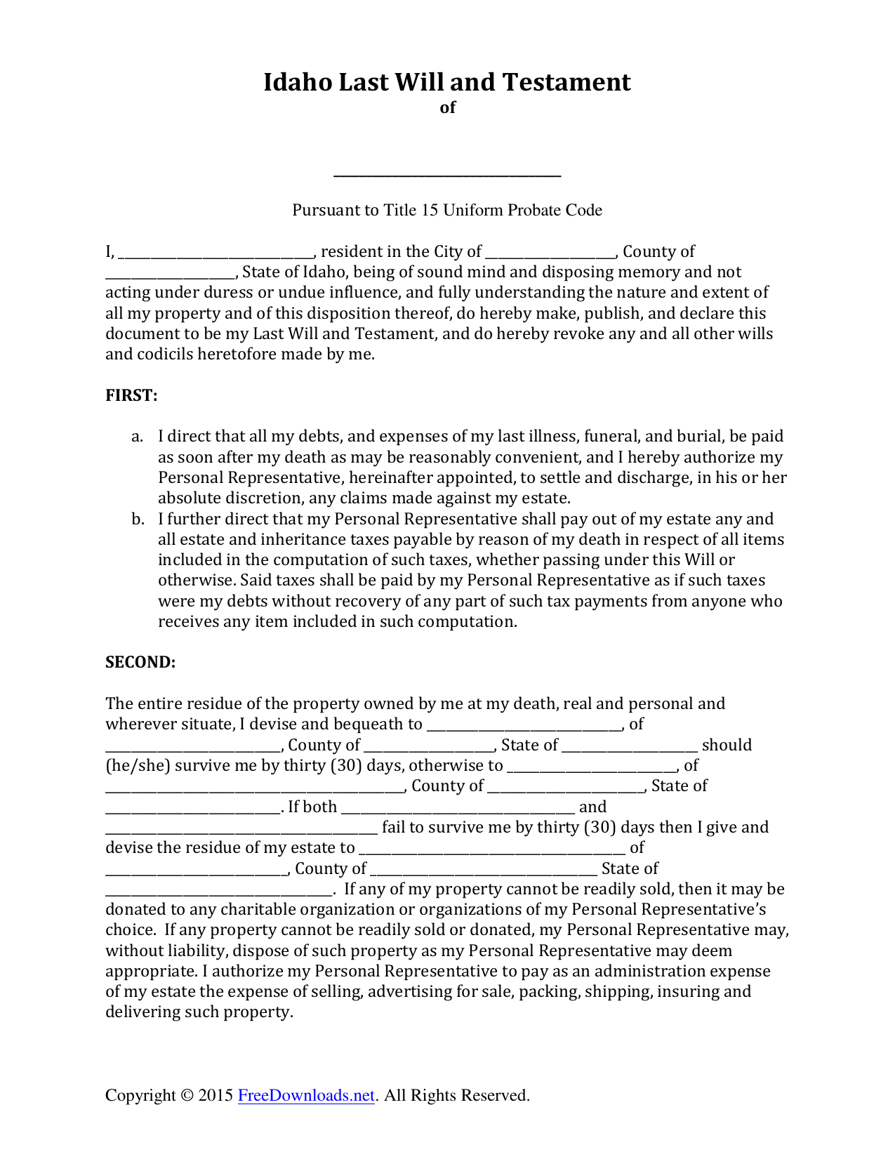 Download Idaho Last Will And Testament Form | Pdf | Rtf | Word - Free Printable Last Will And Testament Forms