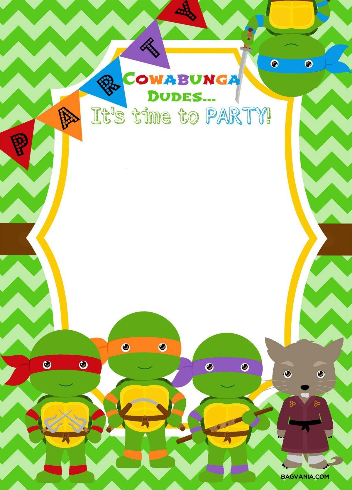 Download Now Free Printable Ninja Turtle Birthday Party Invitations - Free Printable Turtle Baby Shower Invitations