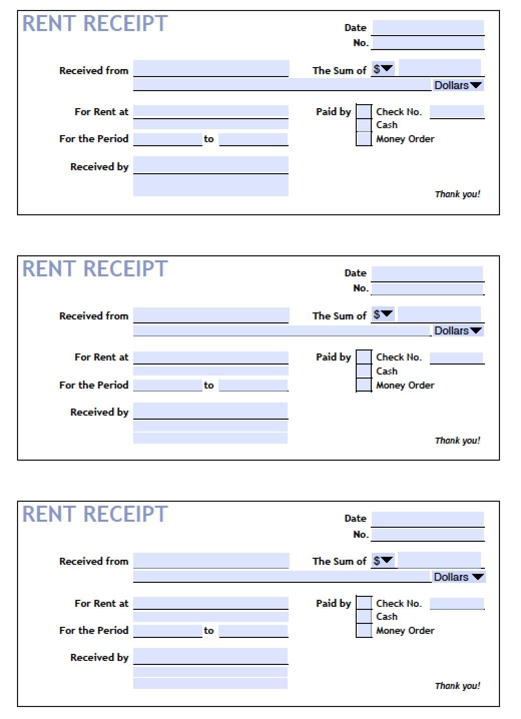Download Printable Rent Receipt Templates | Pdf | Word | Excel - Free Printable Rent Receipt