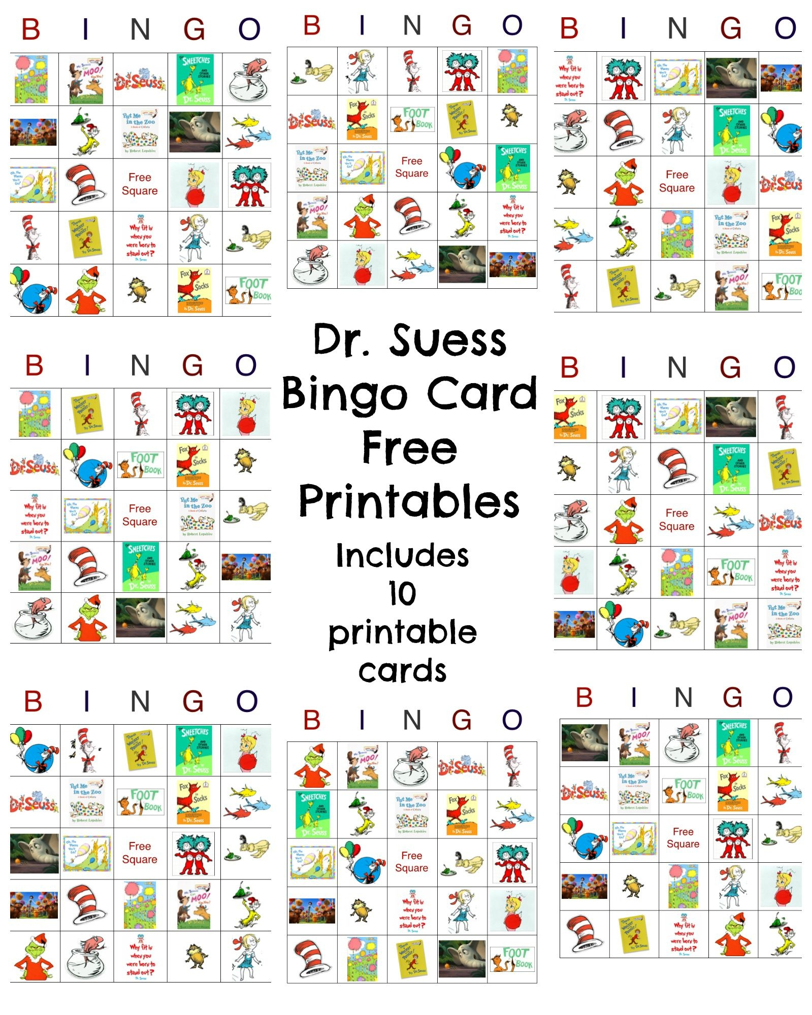 Dr Seuss Bingo Game Free Printable   Best Crafts And Diy   Dr Seuss - Free Printable Dr Who Birthday Card