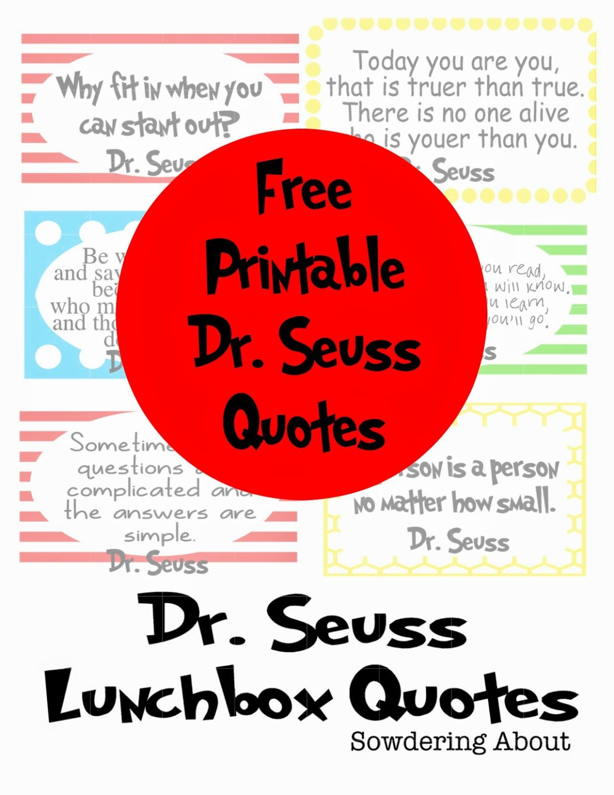 Dr. Seuss Quotes; Free Printables | Do It Yourself Today | Dr Seuss - Free Printable Dr Seuss Quotes