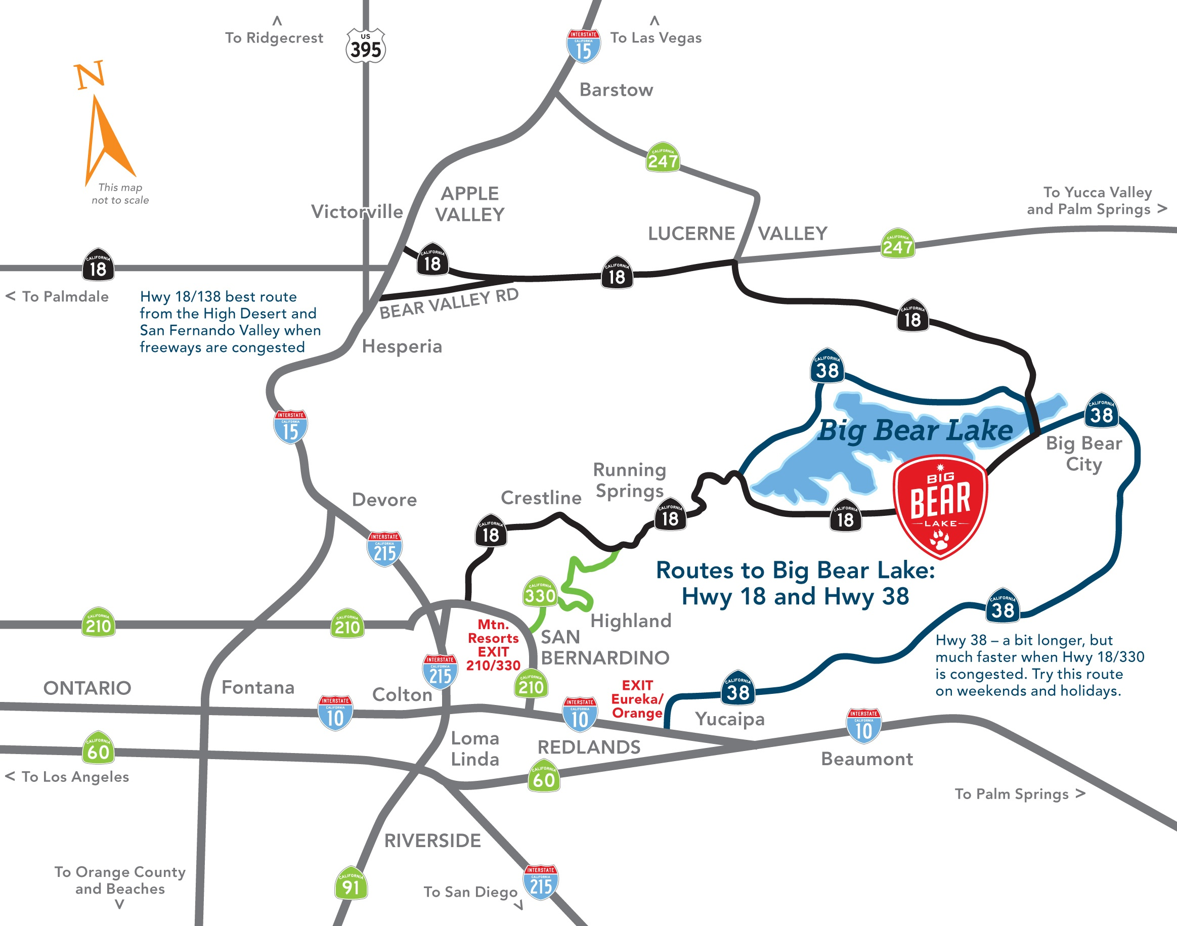 Driving Directions Into Big Bear Lake (4 Unique Routes) - Free Printable Driving Directions
