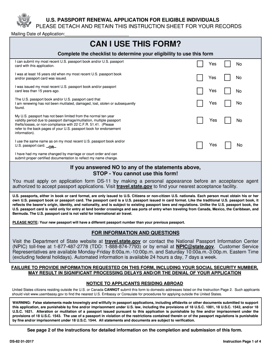 Ds-82 Form 2017 - 2019 - Printable & Fillable Us Passport Renewal - Free Printable Ds 11