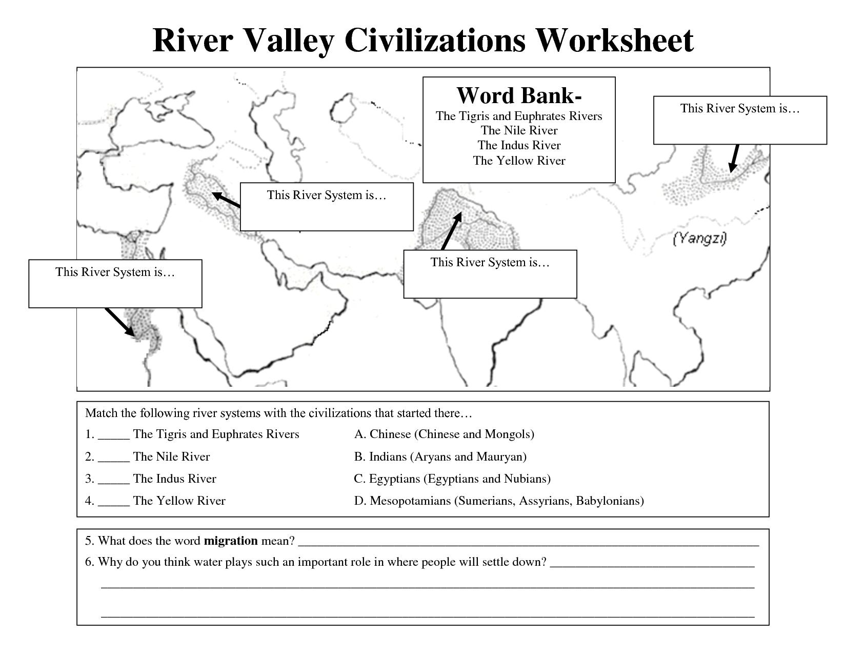 Early Civilizations Worksheet | River Valley Civilizations Worksheet - Free Printable Arkansas History Worksheets