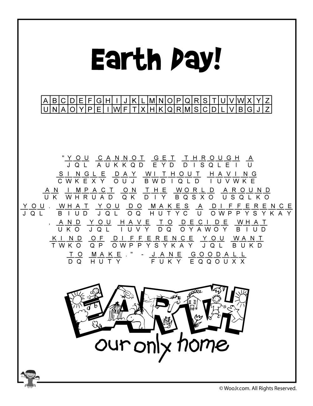 Earth Day Cryptogram Puzzle Solution | Class Decorations | Earth Day - Free Printable Cryptograms With Answers