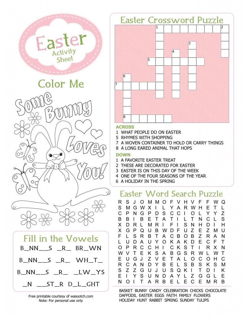 Easter Kids Activity Sheet Free Printable From Wasootch 791X1024 - Free Printable Easter Worksheets For 3Rd Grade