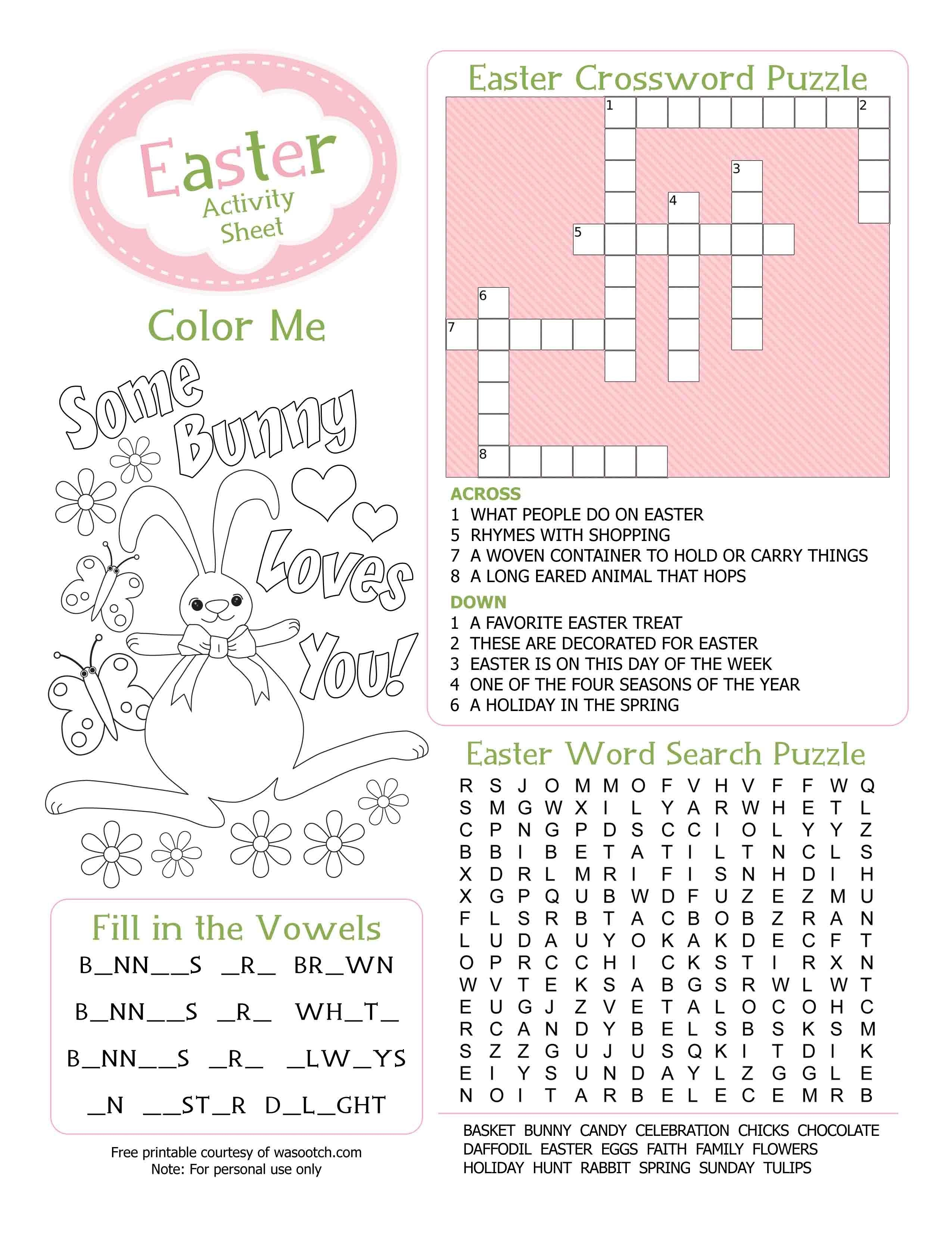 Easter Kid's Activity Sheet Free Printables Available @party - Free Printable Easter Puzzles For Adults