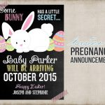 Easter Pregnancy Announcement Printable Card Sign Bunny | Etsy   Free Printable Pregnancy Announcement Cards