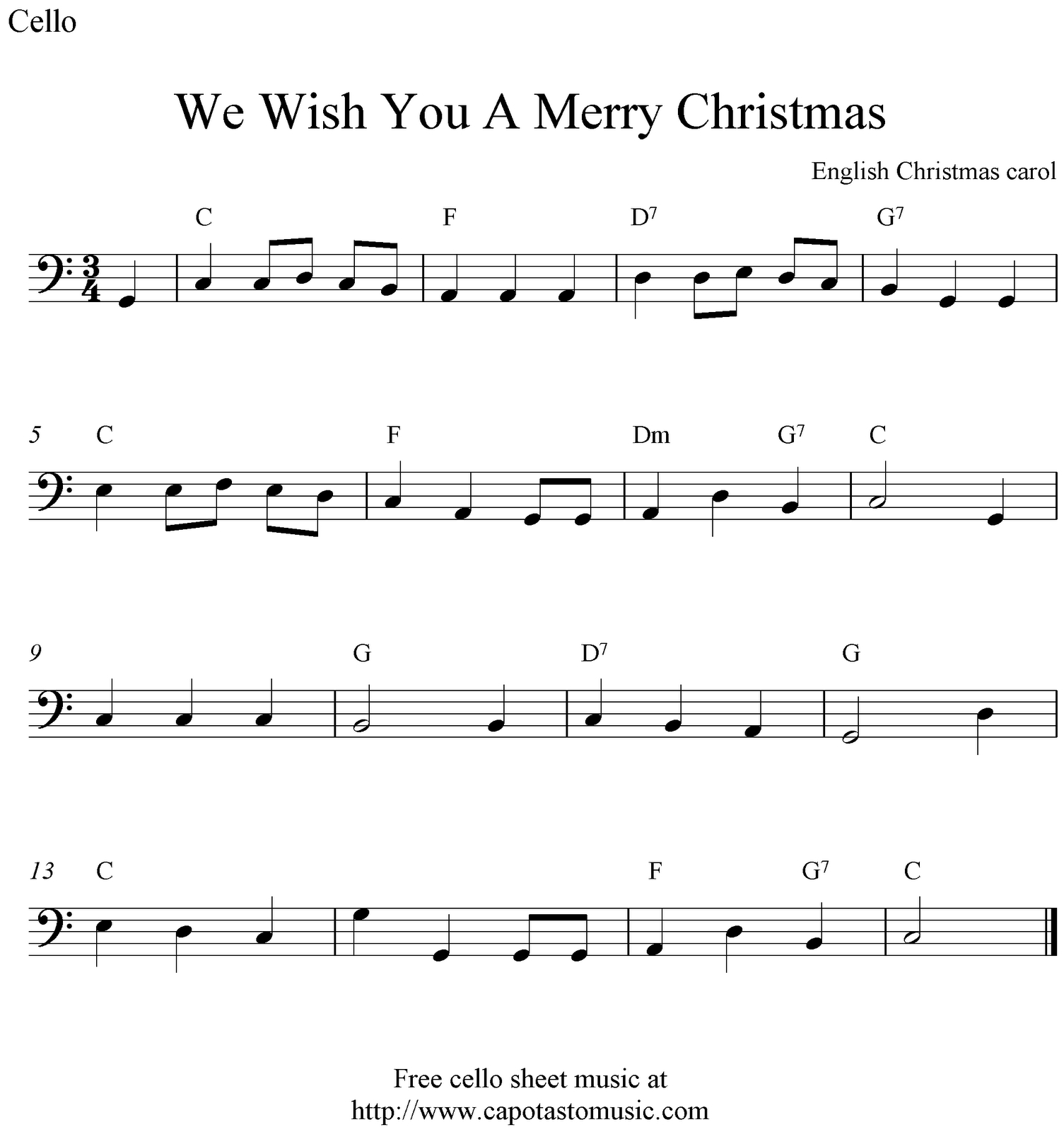 Easy Cello Music For Beginners - Google Search | Chello | Viola - Trombone Christmas Sheet Music Free Printable