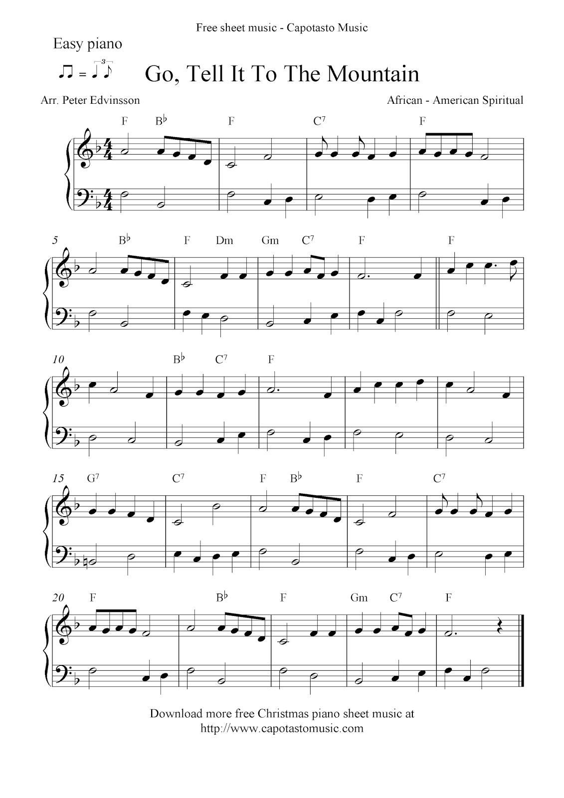 Easy Free Christmas Piano Sheet Music Notes, Go, Tell It To The Mountain - Christmas Piano Sheet Music Easy Free Printable