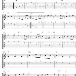 Easy Guitar Tab Sheet Music Score With The Melody The Star Spangled   Free Printable Guitar Tabs For Beginners