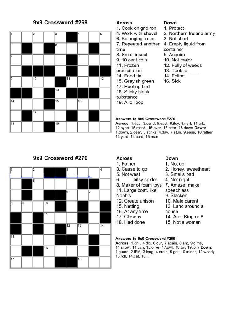 Easy Kids Crossword Puzzles | Kiddo Shelter | Educative Puzzle For - Make Your Own Crossword Puzzle Free Printable