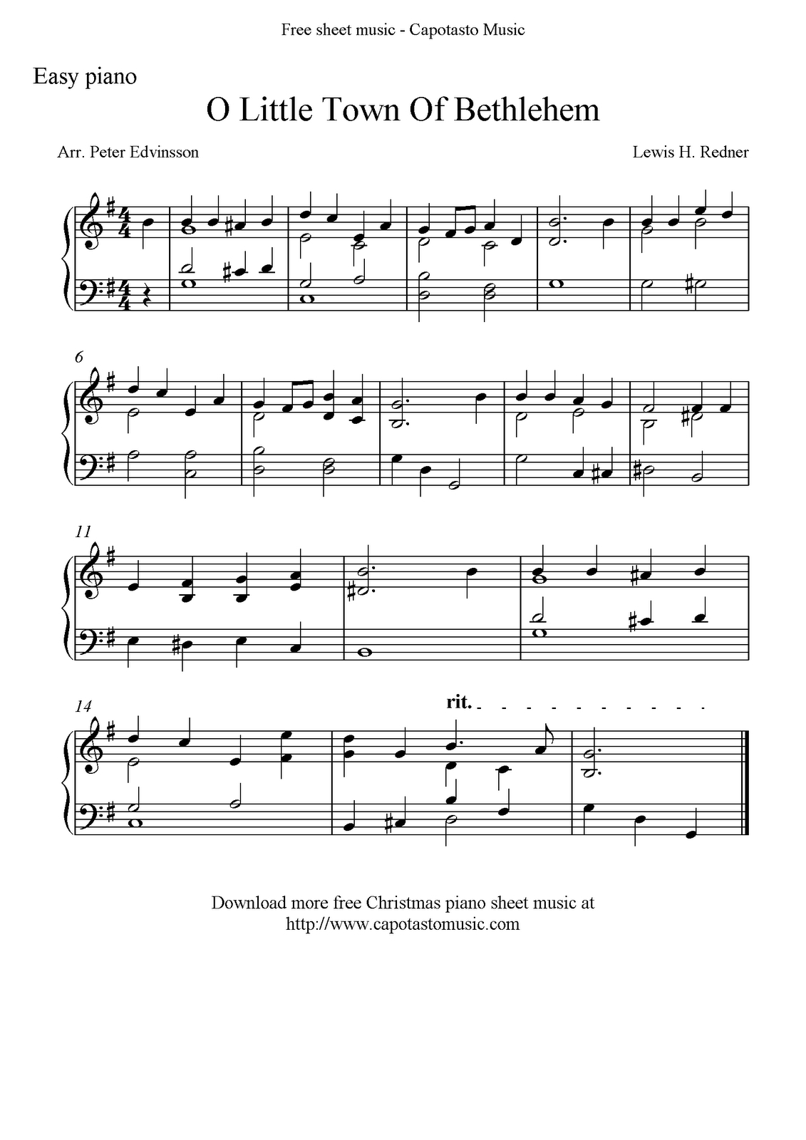 Easy Piano Solo Arrangementpeter Edvinsson Of The Christmas - Free Christmas Sheet Music For Keyboard Printable