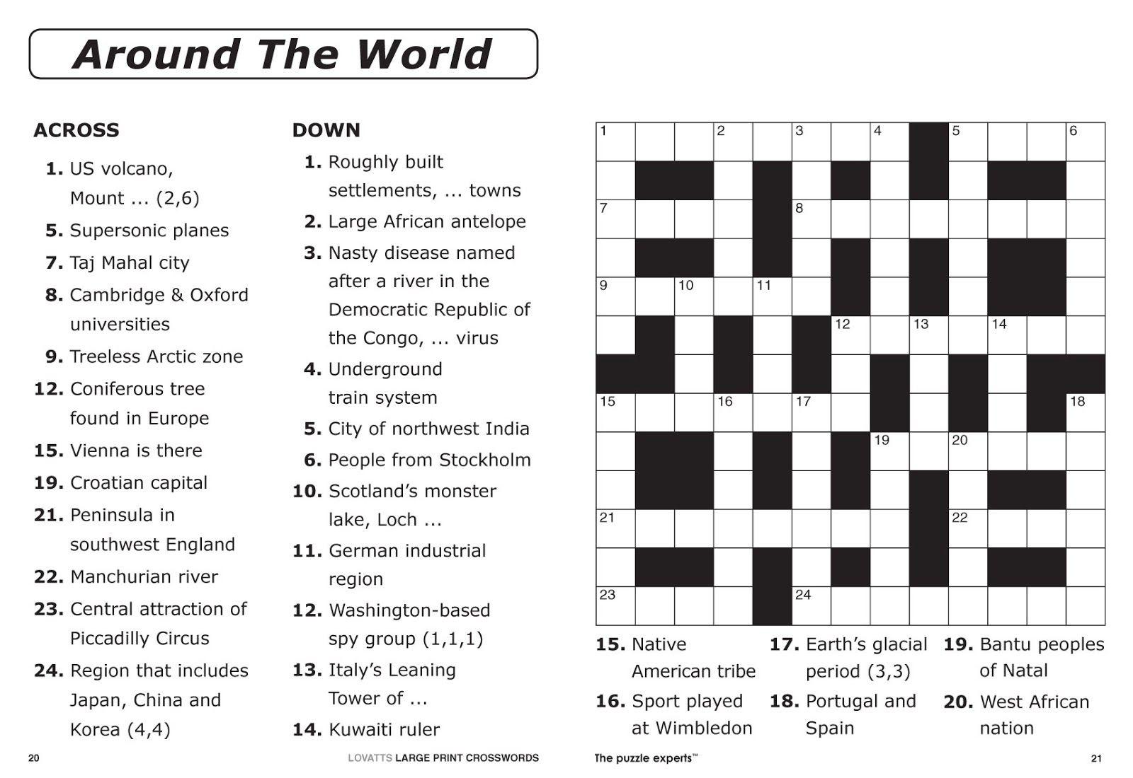 Easy Printable Crossword Puzzles | Elder Care & Dementia Care - Free Easy Printable Crossword Puzzles For Kids