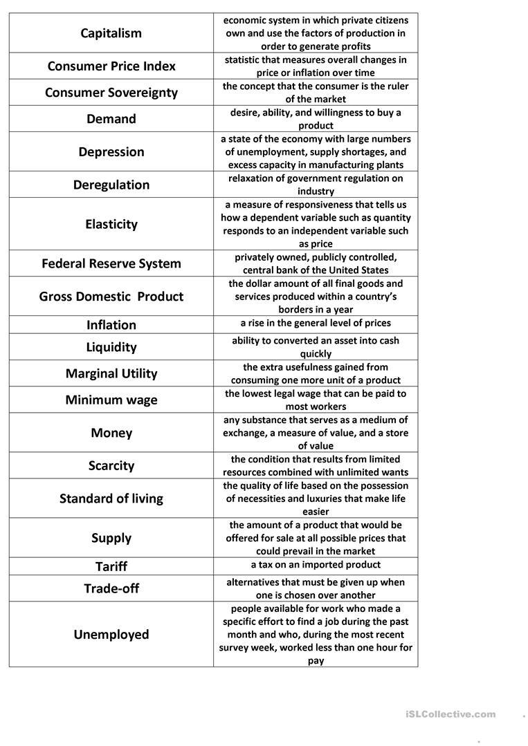 Economics Match Worksheet - Free Esl Printable Worksheets Made - Free Printable Economics Worksheets