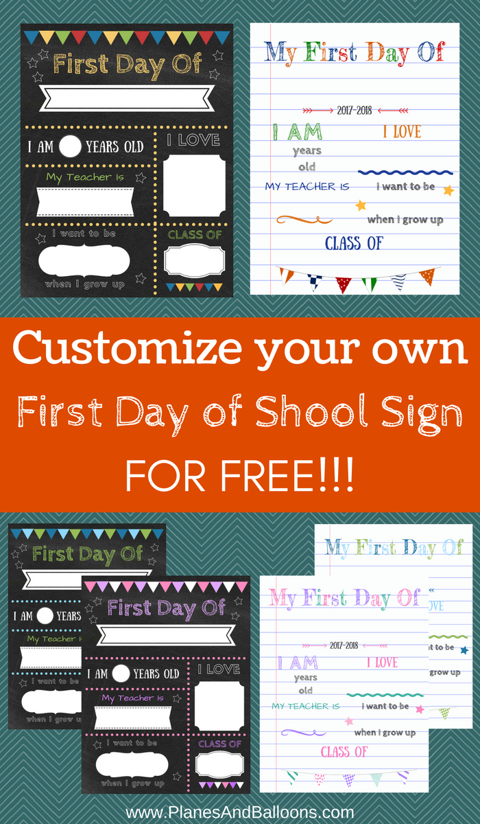 Editable First Day Of School Signs To Edit And Download For Free - Free Printable Back To School