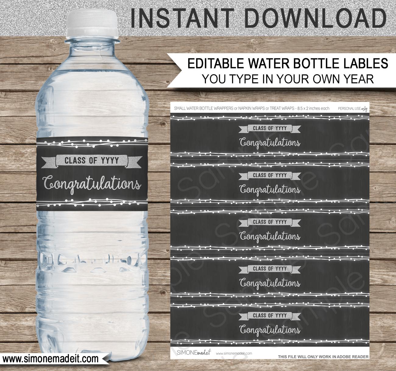 Editable Graduation Party Water Bottle Labels | Decorations - Free Printable Water Bottle Labels Graduation