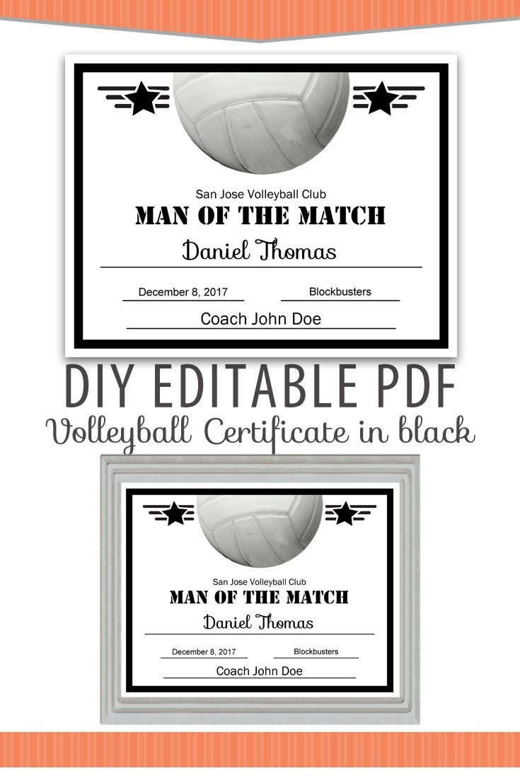 Editable Pdf Sports Team Volleyball Certificate Diy Award Template - Free Printable Wrestling Certificates