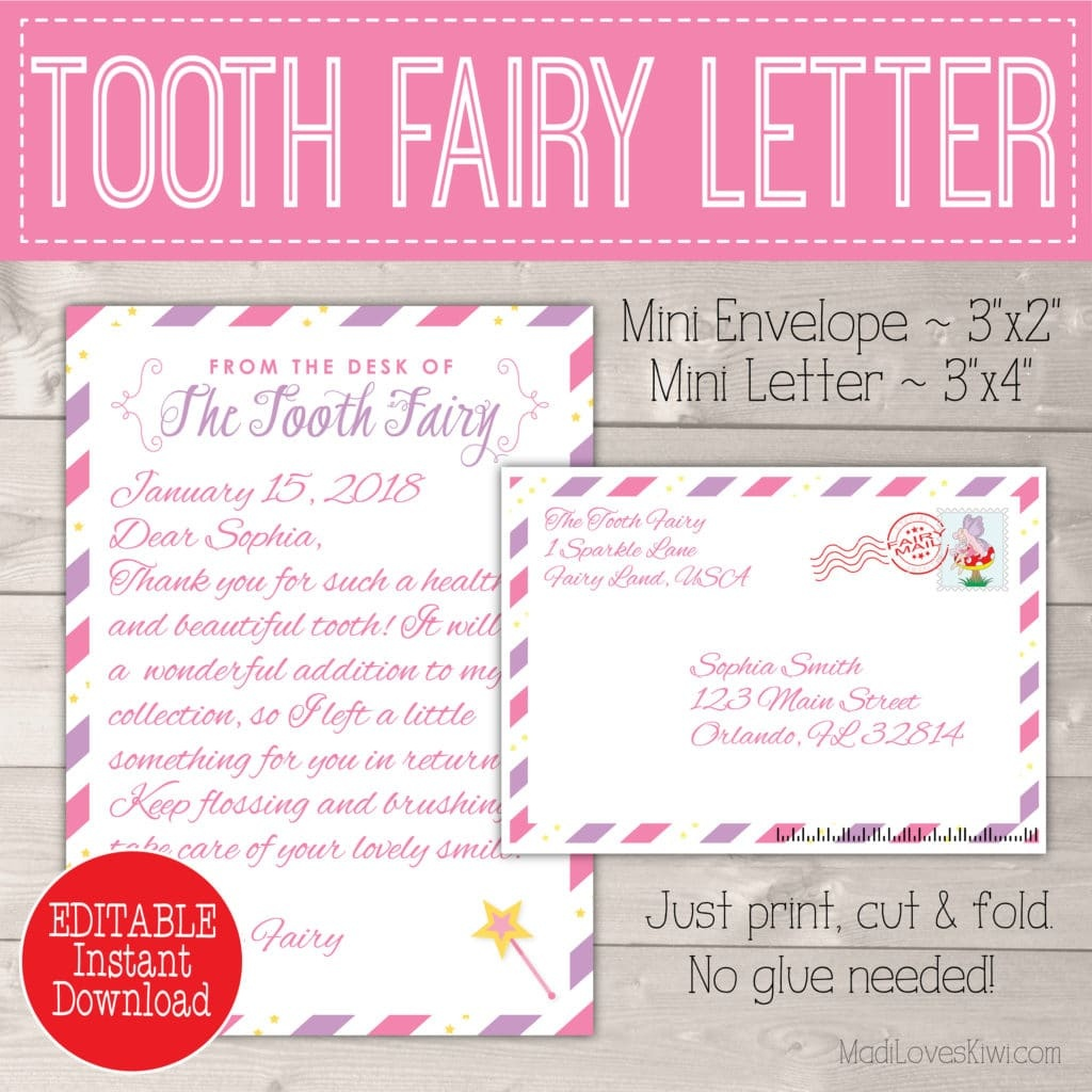 Editable Tooth Fairy Letter With Envelope   Printable Pink & Purple - Free Printable Tooth Fairy Letter And Envelope