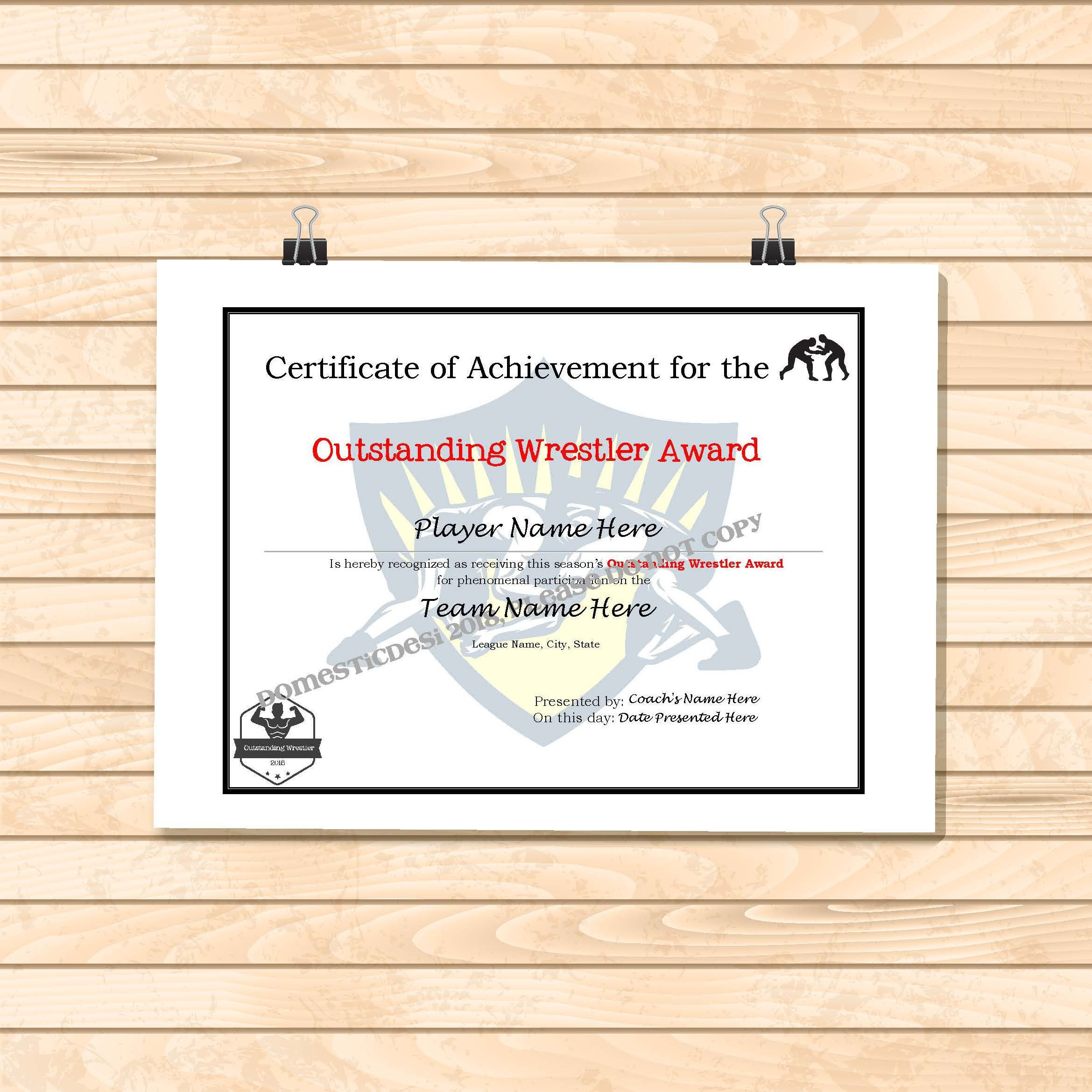 Editable Wrestling Certificates-Digital Downloadable Printable | Etsy - Free Printable Wrestling Certificates