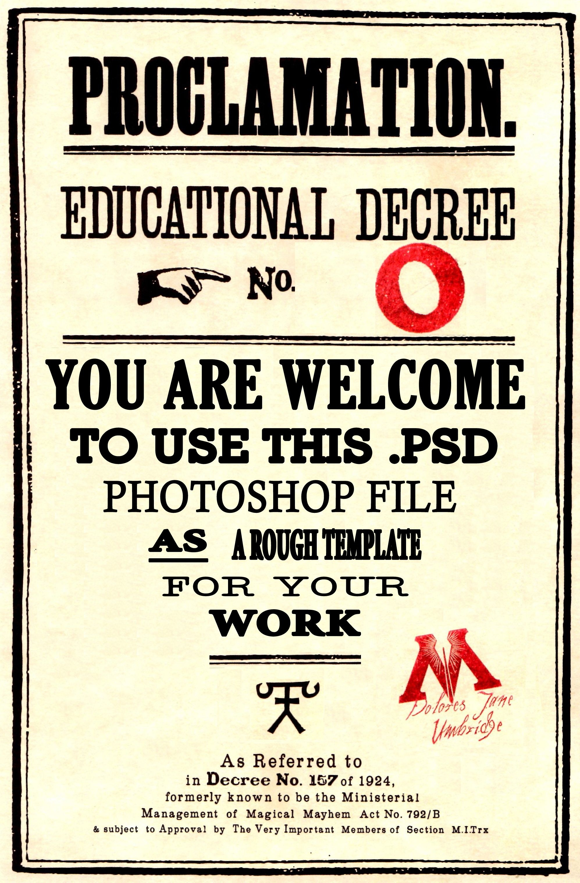 Educational Decree Template From The Harry Potter Film Series. A - Free Printable Harry Potter Posters