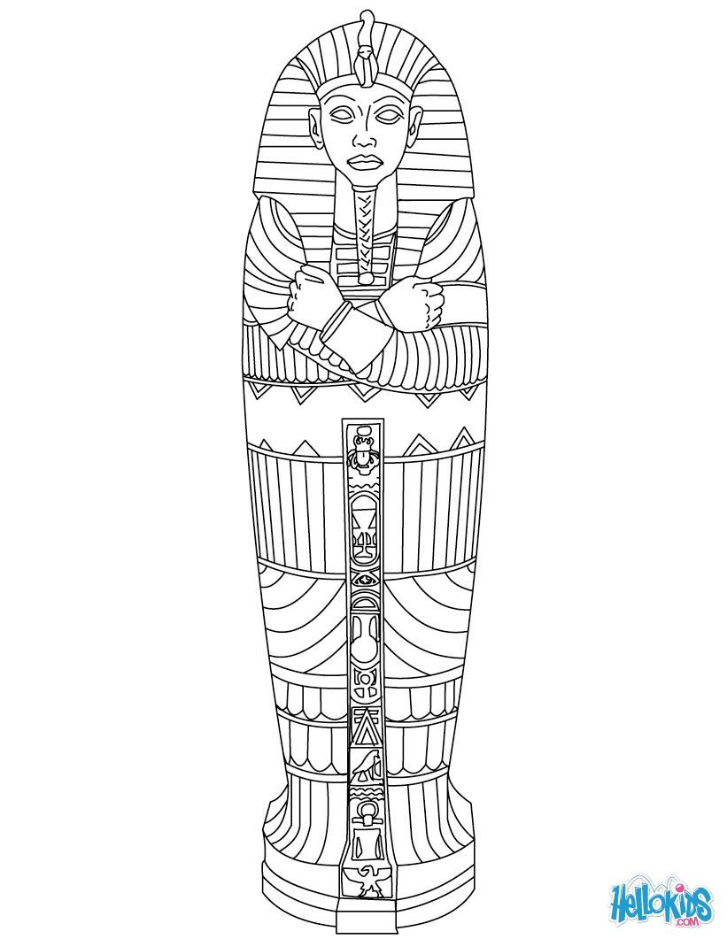 Egyptian Sarcophagus Coloring Page | Line Work | Ancient Egypt Art - Free Printable Sarcophagus