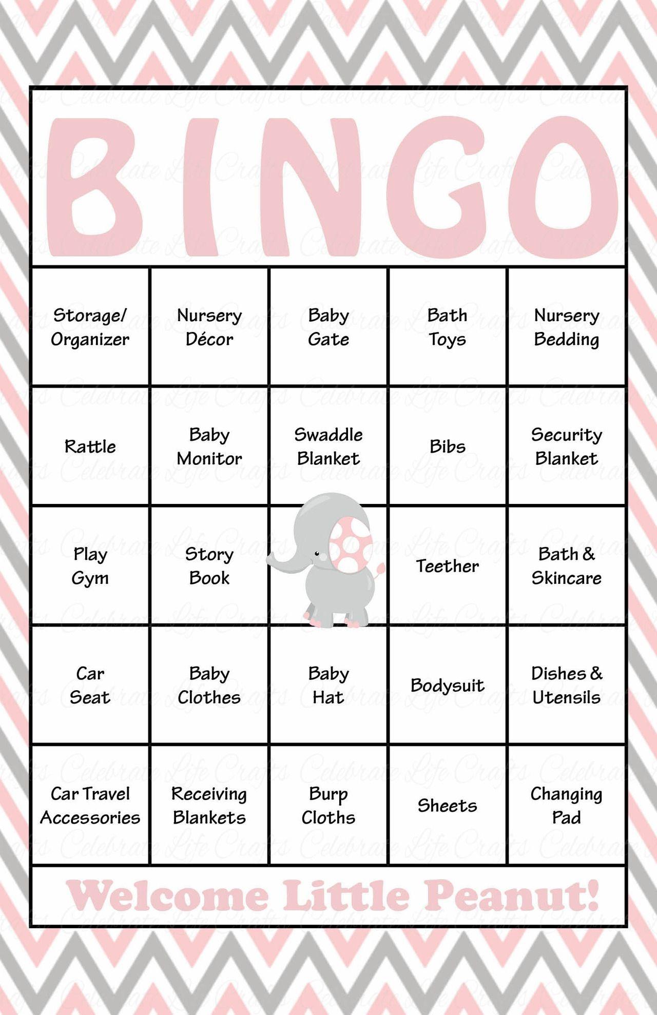 Elephant Baby Shower - Baby Bingo Cards - Printable Download - Baby - Free Printable Baby Shower Bingo Cards Pdf