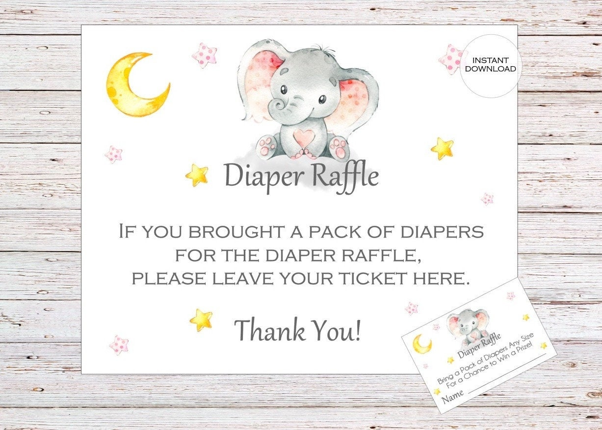 Elephant Printable Diaper Raffle Ticket Elephant Baby Shower | Etsy - Free Printable Diaper Raffle Tickets Elephant