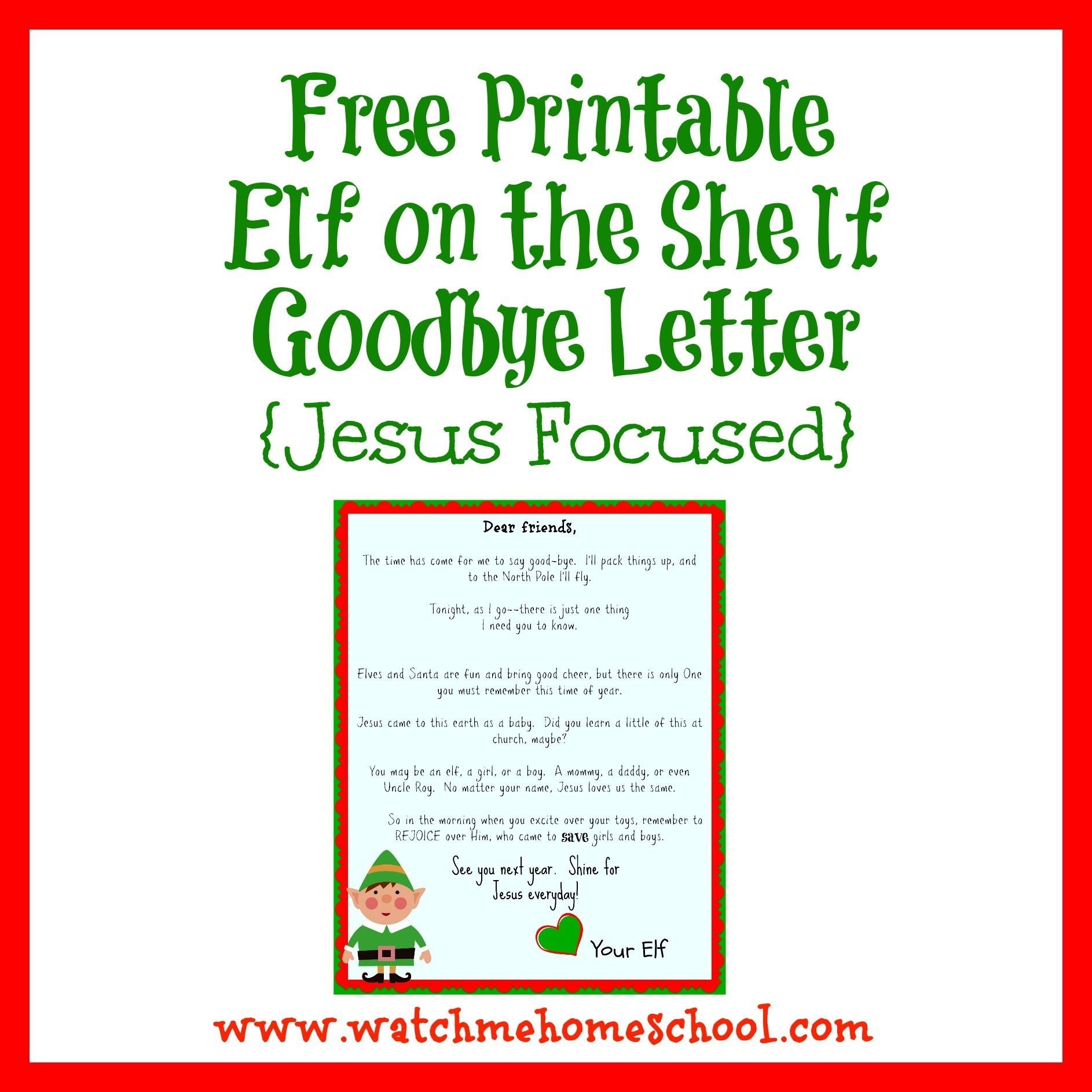 Elf On The Shelf Farewell Letter Printable | Elf On The Shelf | Elf - Elf On A Shelf Goodbye Letter Free Printable