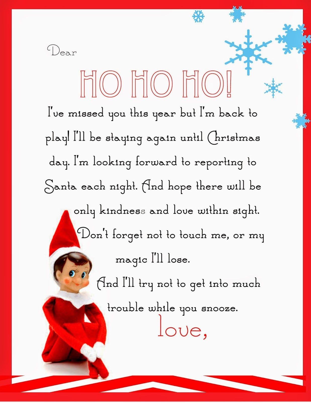 Elf On The Shelf Letter {Free Printable} | Para Las Muñecas | Elf On - Elf On A Shelf Goodbye Letter Free Printable