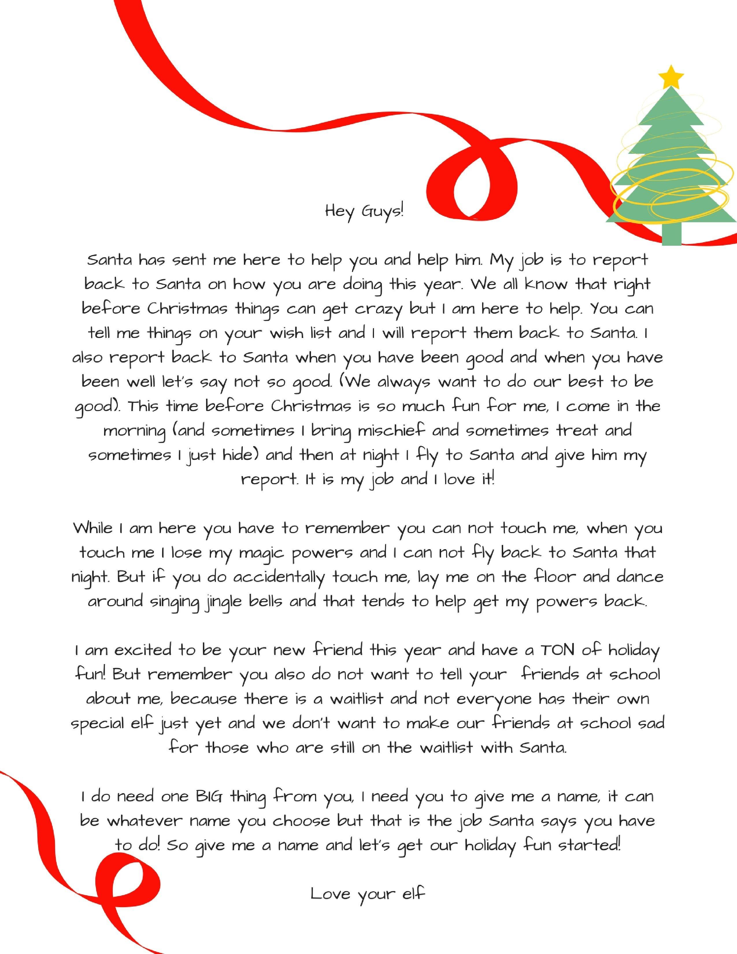 Elf On The Shelf Welcome Letter Printable. Make Life Easy Printing - Free Printable Elf On Shelf Arrival Letter