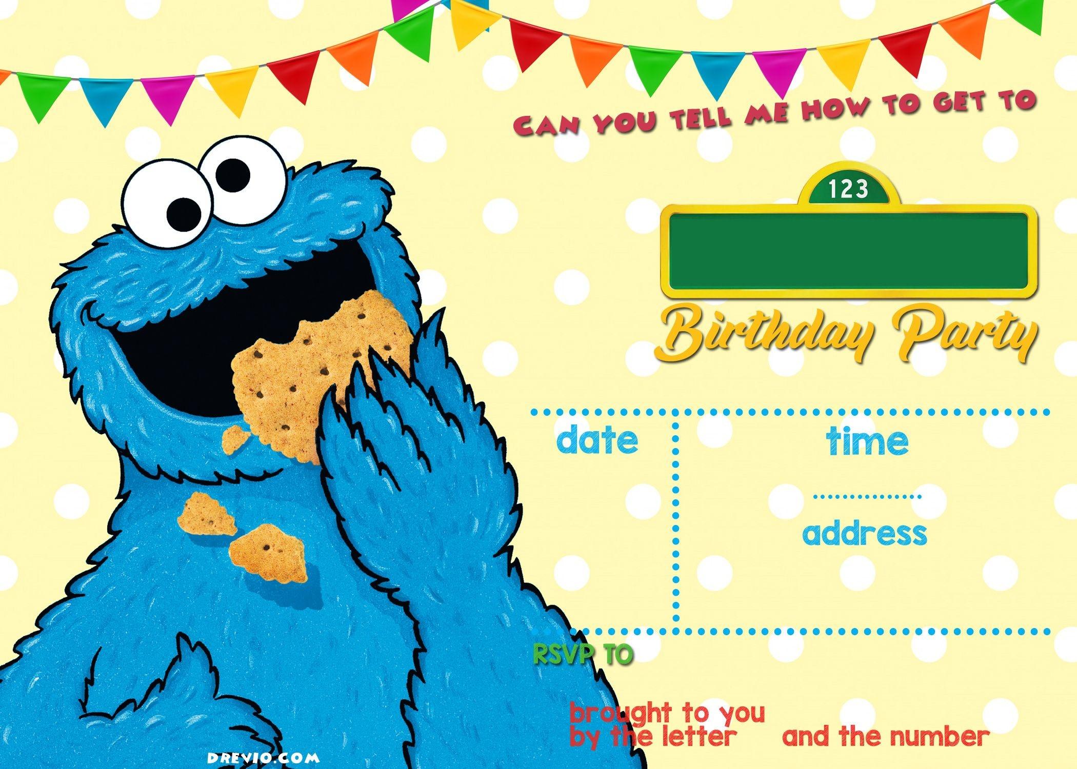 Elmo Sesame Street Birthday Party Invitations | Elijah | Sesame - Free Printable Cookie Monster Birthday Invitations