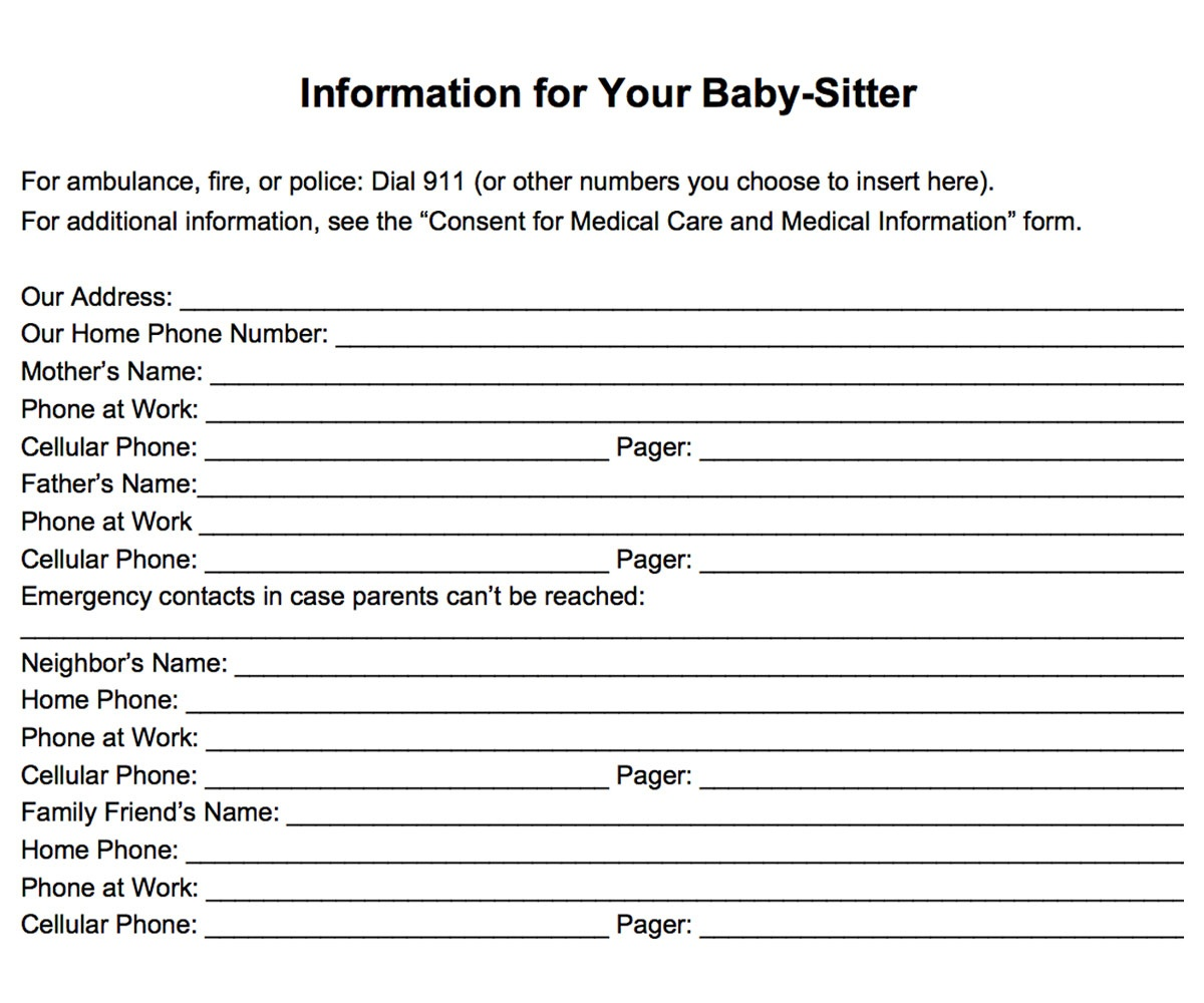Emergency Information Form For Babysitters Printable - Familyeducation - Free Printable Parent Information Sheet