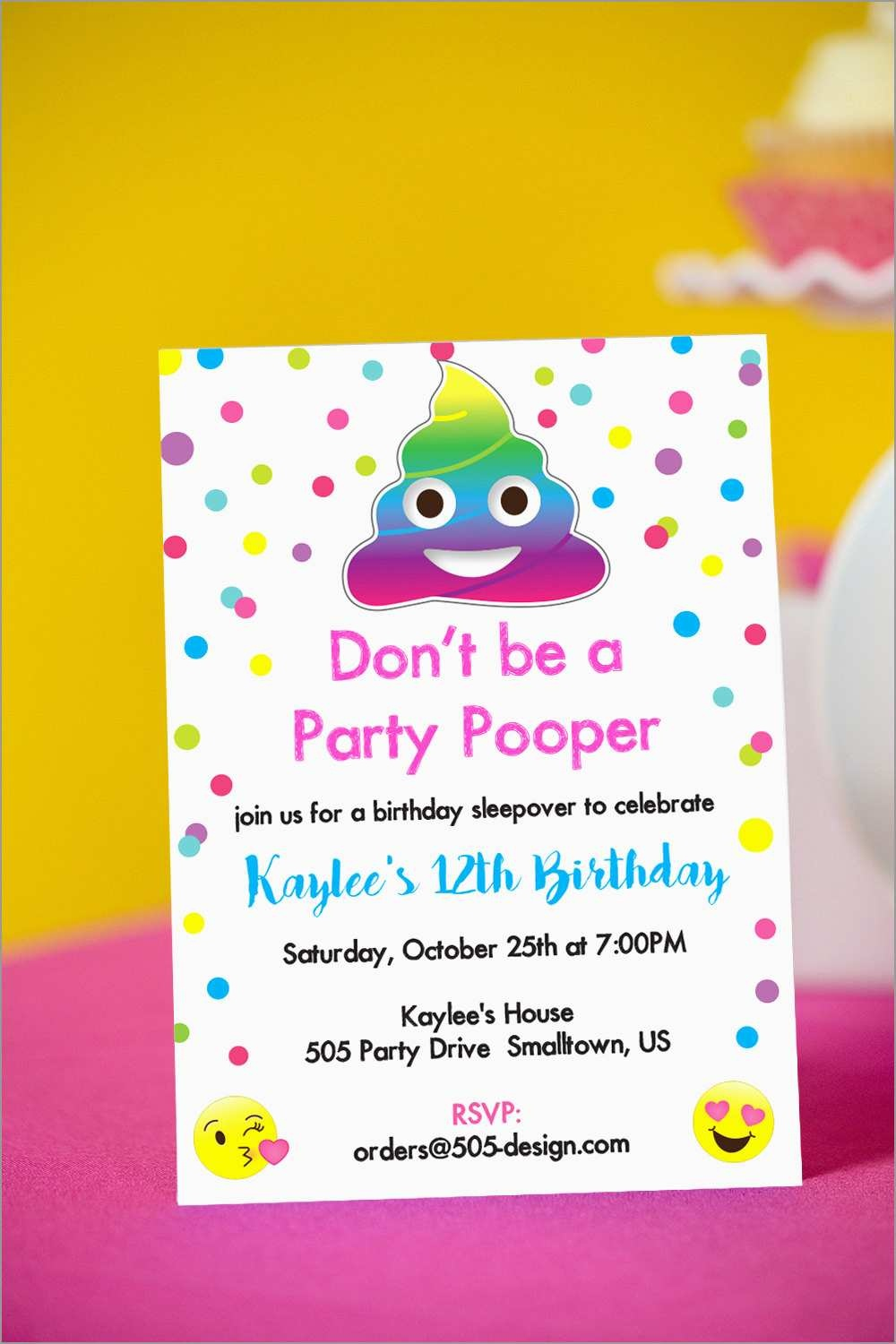 Emoji Birthday Party Invitation Template Free Pretty Emoji Party - Free Printable Emoji B Day Invites