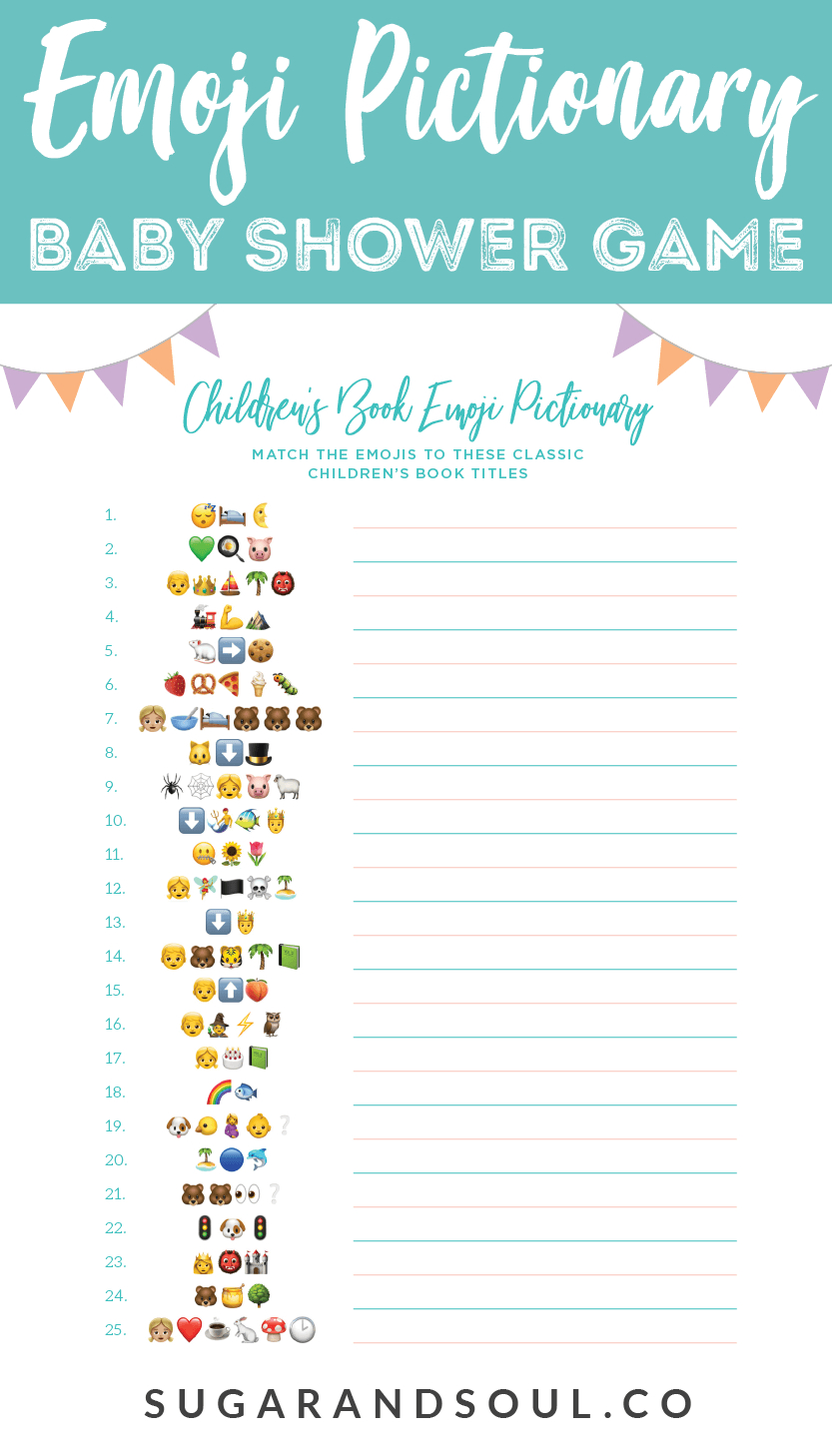 Emoji Pictionary Baby Shower Game Free Printable | Sugar & Soul - Free Printable Baby Shower Games With Answers