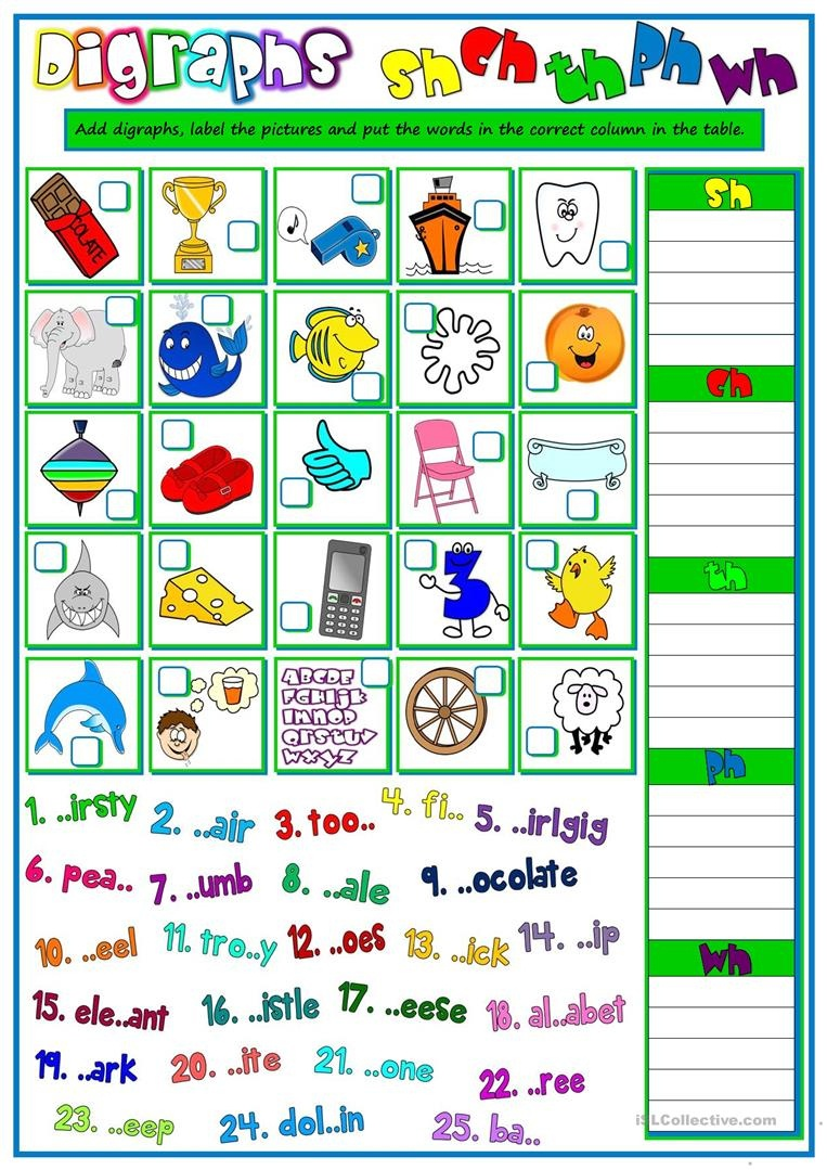 English Esl Digraphs Worksheets - Most Downloaded (13 Results) - Free Printable Ch Digraph Worksheets